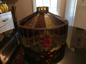 1920s Real Leaded Glass Art Deco Lamp Shade