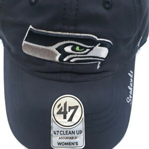 Womens '47 Brand NFL Seattle Seahawks Miata Clean Up Adjustable Cap Navy New