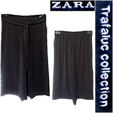 ZARA SIZE M WOMEN`S BLACK CHIFFON FLARED WIDE LEG 3/4 LENGTH TROUSERS #19