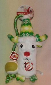 AFP CRAKLING BOTTLE TOY * WITH TENNIS BALL * REINDEER * 11 INCH * SM/MED ** NEW