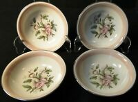 """Homer Laughlin Nautilus N1769 Berry Bowls 5 1/4"""" Pink Band Set of 4 Excellent"""