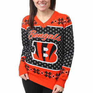 Cincinnati Bengals Women's Orange Big Logo V-Neck UGLY Christmas Sweater NEW
