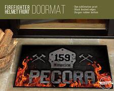 Personalized Firefighter Helmet Front - Welcome Mat - DoorMat  Housewarming Gift