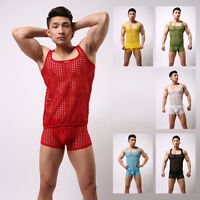 Men's Big Mesh Hollow Underwear Cool Gay Male Stage Tank-top stretch Suits set