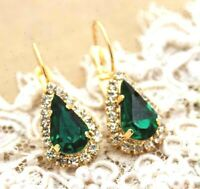 Vintage Antique 4.36 Lab Created Emerald Dangle 14K Yellow Gold Over Earrings