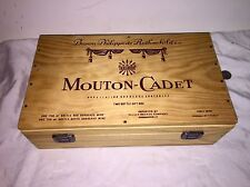 "Vintage Wooden Advertising Box ""Mouton-Cadet"" Wooden Wine Box Hinged & Clasped"