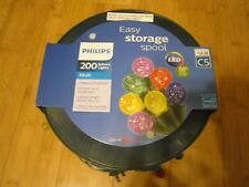 New Philips 200ct  LED Faceted Sphere String Lights Multicolored Green Wire