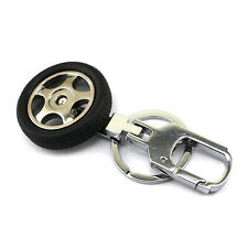 1x Originality Auto Car Part Silver Metal 3D Car Tire Model Alloy Keychain