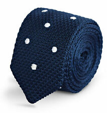 Frederick Thomas navy knitted tie with white polka spots & pointed end FT3277