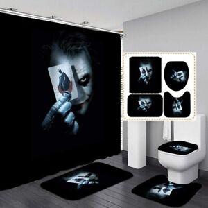 The Joker 4PCS Bathroom Set Shower Curtain Toilet Lid Cover Non-Slip Bath Mat