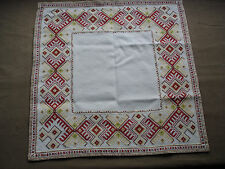 #726  Beautiful Vintage Hand Embroidered Linen Tablecloth 53cm/51cm(21''/20'')
