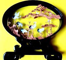 Korkschnitzerei 8 Kraniche Kunsthandwerk  Fengshui Glücksbringer beste Dekortion