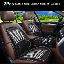 2x Mesh Bamboo Lumbar Back Brace Pad Support Waist Massage Auto Car Seat Cushion