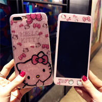 Bling Fr iPhone 11 Pro XS Max XR 8 Glitter Hello Kitty Case Tempered Glass Cover