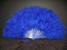 "MARABOU FEATHER FAN - ROYAL BLUE Feathers 12"" x 20"" Burlesque/Wedding/Costume"