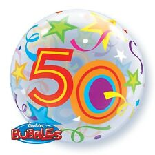 """22"""" BUBBLE BALLOON """"50TH BIRTHDAY"""" PARTY DECORATION - STRETCHY"""