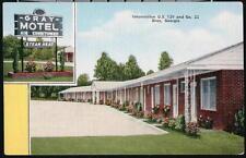 GA GRAY Motel Routes 129 & 22 Vintage Georgia Linen Roadside Postcard Early Old