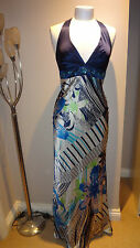 BEAUTIFUL OLEG CASSINI (OC BY OC)100% SILK EVENING MAXI& HALTERNECK DRESS SZ 2