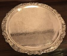 LARGE FB ROGERS CHASED Repousse SILVERPLATE TRAY For PUNCH BOWL