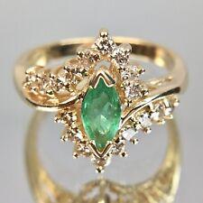 EFFY BH 14k Marquise Emerald & Diamond Yellow Gold Ring Size 5.75
