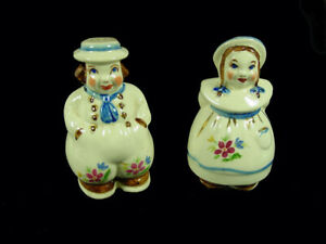 Shawnee Pottery - Dutch Boy & Girl - Large Range Shakers-Flowers & Gold Decorati