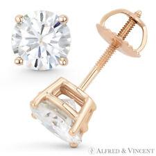 Round Cut Forever Classic Moissanite 4P Screwback Stud Earrings in 14k Rose Gold
