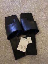 Zara Black Square Toe Leather Flat Sandals UK 5 BNWT