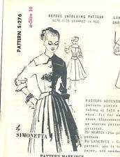 """Vintage 1950s Spadea Pattern Womens DRESS S-276 by Simonetta Sz 10 B34"""" UNUSED"""