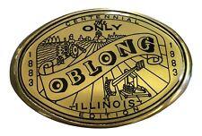 Vtg Oblong Belt Buckle Solid Brass Chicago Illinois Midwest Centennial 1980s Big
