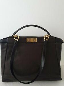 Auth FENDI PEEKABOO brown leather shoulder bag size: LARGE
