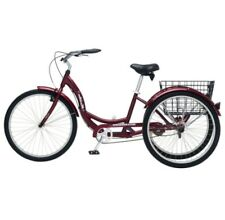 Black Cherry Single Speed Adult 3 Wheel Cruiser Bike Tricycle With Basket