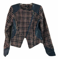 Very J Military Jacket Womens M Tweed Double Breasted Crop Long Sleeves V-neck