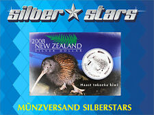 1 OZ Silber Silver 1  Neuseeland Dollar -  KIWI 2008  in Coincard Blister