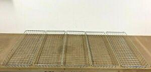 5 STEEL WIRE BASKET LOT stacking document tray metal vintage rack bin holder vtg