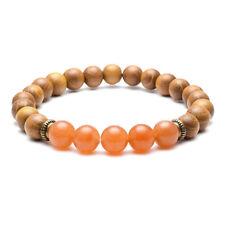 "Natural 8mm Sandalwood Beads Chakra Stones Braided Energy Bracelet Xmas Gift 04# Red Aventurine (7"" Stretchy)"