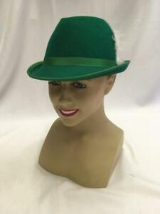 "Green wool felt  Austrian Hat Tyrolean Bavarian Octoberfest 21"""