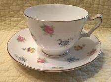 Crown Staffordshire Fine Bone China England Tea Cup $ Saucer Peony / Roses  Y