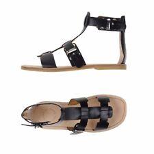 Marc Jacobs Sz 39.5 Leather Gladiator Sandal Black Silver Buckle Flats 9.5 $328