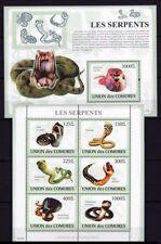 Comoros 2009 MNH SS+MS, Reptiles, Snakes, King Cobra (Q19)