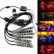8 Strips RGB Light 48 LED Motorcycle Autocycle Car Decoration MultiColour+Remote
