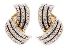 Crystal Enamel Stud Clip - On Costume Earrings