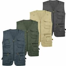 NEW MENS QUALITY SAFARI WAISTCOAT GILET JACKET FISHING HIKING HUNTING BODYWARMER