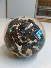 Glass Paperweight with Multiple Red,White & Blue Flowerheads Design (1004)