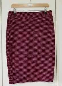 River Island Skirt Size 14 Black Red Spots Pencil Knee Length Smart Casual Work