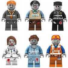 6 Sets Zombie Minifigures Toys Manger Nurse Programmer Police Emmet Blocks