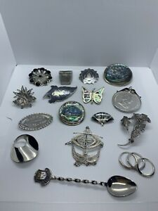 Vintage Sterling Silver Brooch Rings Joblot Not Scrap Items
