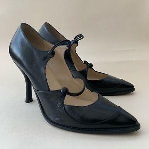 DKNY Black All Leathear Double Strap Mary Jane 4 Inch Stiletto Heel UK 6.5