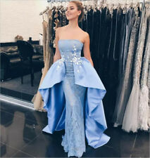 Strapless Charming Mermaid Lace Satin Evening Prom Dress Celebrity Party Gown