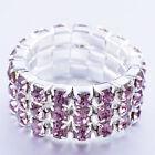Fashion Jewelry Womens White Gold Filled 3-Row Cute Pink Rhinestone Stretch Ring