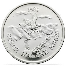 1984 Coeur d'Alene Mines Silver Freedom Lion 1 Troy Oz .999 Fine Silver Coin
